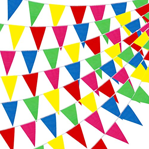 YGEOMER 300pcs Colorful Pennant Flags Banner 375ft Multicolor Pennant Banner Nylon Cloth Flag Pennants for Party Celebrations and Shops Decorations