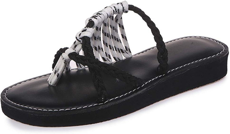 JOYBI Women Fashion Platform Thong Sandals Strappy Slip On Cross-Tied Comfort Lady Casual Flat Beach Slipper