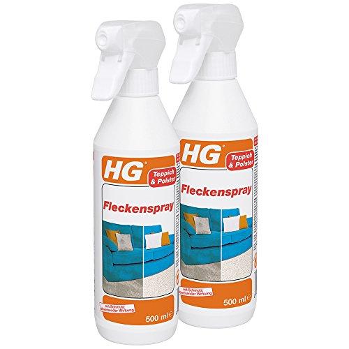 HG Fleckenspray 2er Pack (2x 500 ml) – Fleckenentferner Spray - Zur Entfernung von Flecken auf Teppichen, Kleidung, Sofas und Autopolstern