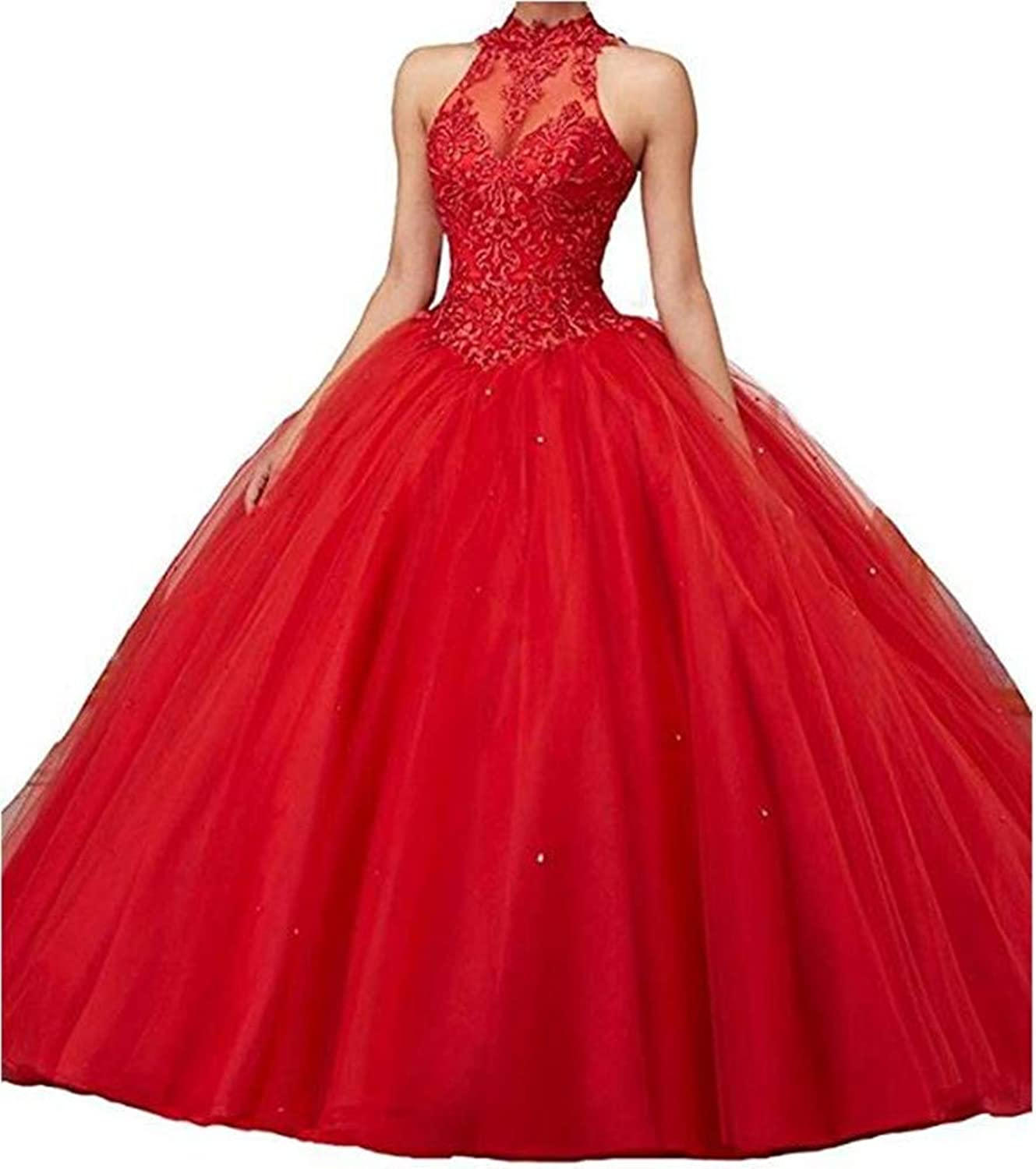 Ai Maria Women's Sweetheart Quinceanera Tulle Dress with Beads Crystal