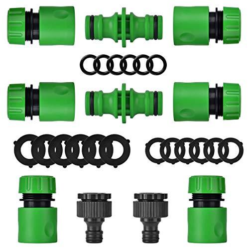 Wuudi Kit de conexión para manguera de jardín, 10 unidades, 6 conectores rápidos, 2 conectores paso y 2 conectores de boquilla.