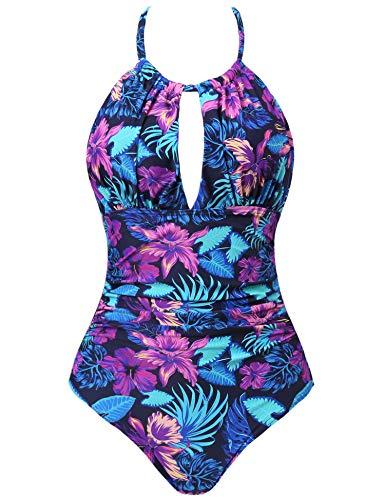 Joyaria Womens Halter Slimming One Piece Swimsuits Ruched Tummy Control Bathing Suit Monokini Swimwear (Tropic Floral, XXL)