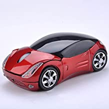 2.4GHz Sports Car Shape Wireless Ergonomic Optical Mouse with Adjustable DPI(red)