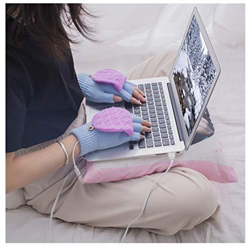 wuayi Damen Mädchen Strickwolle USB Ladeheizung Fingerlose Handschuhe Flip Top Halbfingerhandschuhe Geeignet für...