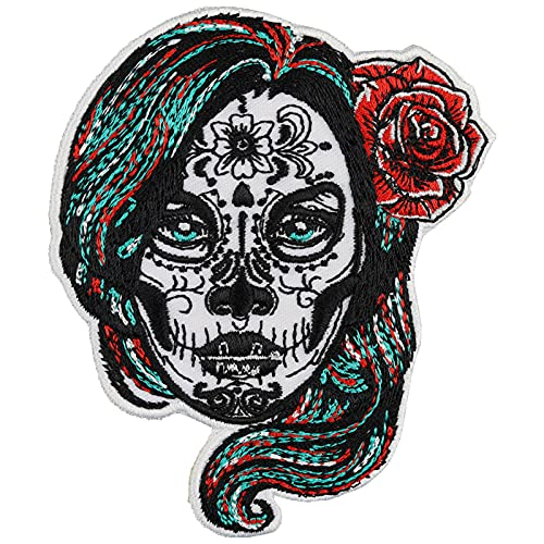 La Catrina Aufnäher Dia de Muertos Mexican Skull Tattoo Aufbügler Biker Patch Rocker Bügelbilder Heavy Metal Sticker Tattoo Geschenk Frauen DIY Applikation 100x80mm