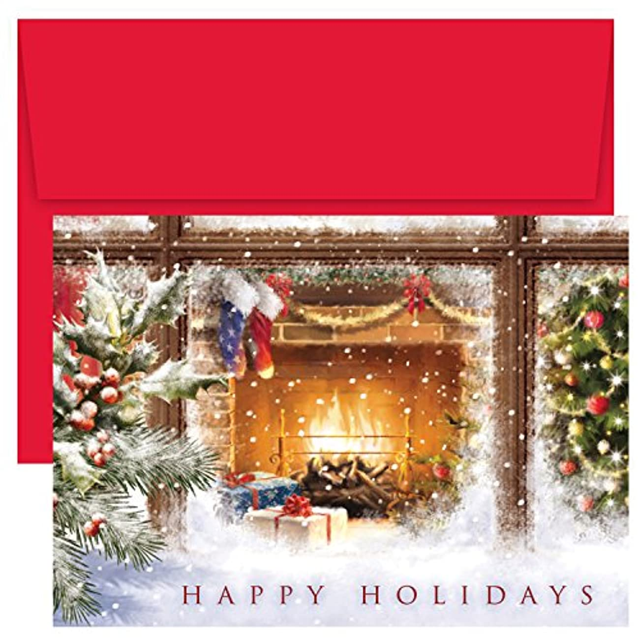 Masterpiece Studios Holiday Collection 18 Cards / 18 Envelopes, Cozy Fireplace