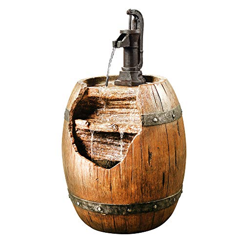 Peaktop Vintage Barrel Waterfall Fountain with Pump for Outdoor Patio Garden Backyard Decking, 33 Inch Height, Wood