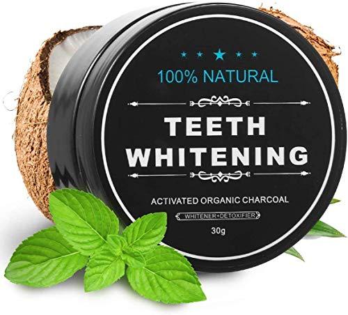 Pasta de dientes blanqueadora de carbón activado – Kit de blanqueador dental carbón de coco Polvo de diente –Eliminación rápida de manchas dentales Sin flúor – Aliento fresco Agente de blanqueamiento