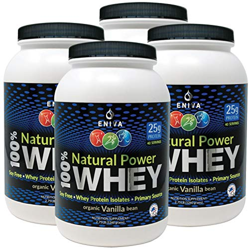 ENIVA Natural Power 100% Whey Protein Powder, Organic Vanilla, Clean Protein for Everyone & Keto, High Protein, Low Carb, Gluten Free Non GMO Soy Free, Whey (WPI) Isolate Primary, USA Made, 11 lbs