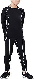 Boys Athletic Base Layer Set Fleece Lined Compression Shirts & Pants Thermal Long Johns