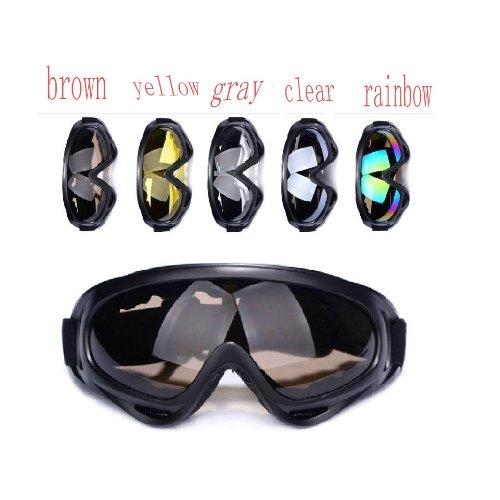 5 couleurs extérieur coupe-vent, étanche à la poussière des yeux Lunettes de protection Lunettes de Ski/Snowboard objectif de couleurs (arc-en-ciel)