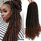 16inch 7pcs Crochet Hair Spring Senegalese Twist Crochet Braids Curl End Braid Hair Extensions Spring Twist Crotchet Hair for Black Women (16inch, Black Mix Brown(1B/30#))