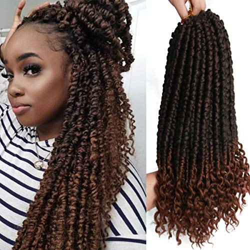 16inch 7pcs Senegalese Spring Twist Crochet Hair Curl End Senegalese Twist Crochet Hair Synthetic Hair Extensions Fluffy Spring Twist Crochet Braids Hair Extension (16inch, Black Mix Brown(1B/30#))
