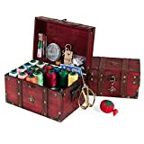 Holz sammlung Cesta de Coser de Madera con Kit de Costura, Más de 130 Piezas Accesorios Vintage Caja de Organización, Casa De Coser Conjunto para Adulto Chicas Viajes a Domicilio y Uso de Emergencia