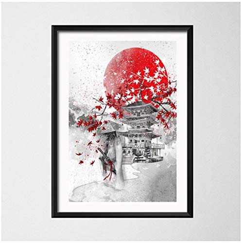 SDGW Arte De La Cultura Japonesa Pintura Samurai Geish Hojas De Arce Arte Pintura Lienzo Póster Pared Decoración del Hogar-50X70Cm Sin Marco