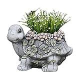 SUHETI Forma Animal Macetas con Agujeros de Drenaje, Decoración Plantador Interior y Exterior, para Flores Áloe Orquídea Plantas Suculentas,Tortoise