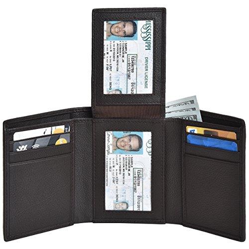 Leather Wallets for Men Smart Tactical Design RFID Blocking Credit Card Wallet
