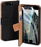 moex Handyhülle für Huawei P10 Plus - Hülle mit Kartenfach, Geldfach & Ständer, Klapphülle, PU Leder Book Hülle & Schutzfolie - Schwarz