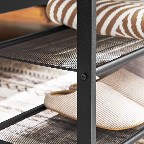 VASAGLE Shoe Bench, Shoe Rack with 2 Mesh Shelves, Shoe Storage Organizer for Entryway Hall, Metal, Industrial, Rustic Brown and Black ULBS74X