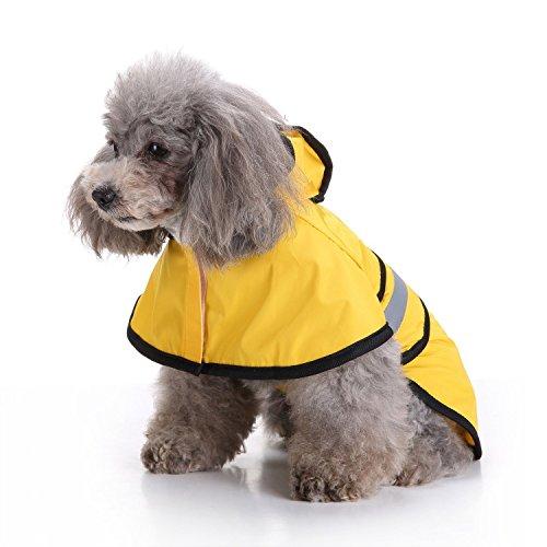 DUANQY Fashion huisdier hond regenjas voor kleine honden | hond regenjas met capuchon 100% polyester | waterdicht geel met grijze reflecterende streep