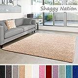 Shaggy-Teppich | Flauschiger Hochflor für Wohnzimmer, Schlafzimmer, Kinderzimmer oder Flur Läufer | einfarbig, schadstoffgeprüft, allergikergeeignet | Beige - 80 x 150 cm