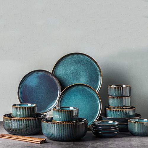 ZLDGYG Juego de vajillas nórdicas, Conjunto de Platos de vajilla de vajilla de Cena de Cena de Cena de cerámica acristalada de Horno