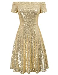 Gold Sequin Short Sleeve Off Shoulder Pleated A-Line Dress