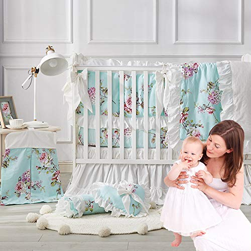 Brandream Baby Crib Bedding Sets French Country Style 11-Piece Farmhouse Bedding Hydrangea Rose Floral Chic Baby Girl Nursery Bedding Set 100% Hypoallergenic Cotton