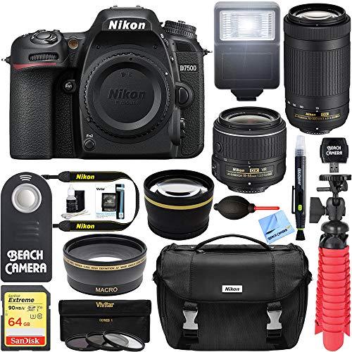 Nikon D7500 20.9MP DX-Format Digital SLR Camera with 18-55 VR & 70-300 AF-P VR Lens Deluxe Accessory Bundle
