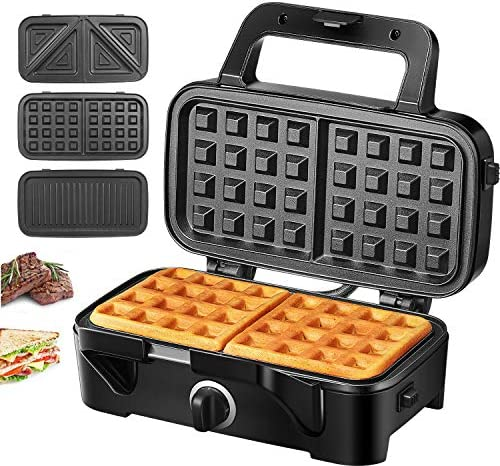 Decen Waffle Maker Sandwich Maker 3 in 1 with Nonstick removable Plates 1200W Panini Press Grill product image