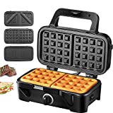 Decen Sandwich Maker 3-in-1 Waffle Maker, 1200W Panini Press Grill with 3 Detachable Non-stick Plates, LED Indicator Lights, Cool Touch Handle, Easy to Clean, Black