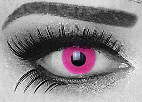 Fasching Kontaktlinsen Farbige Crazy fun Kontaktlinsen Disco UV aktive Kontaktlinsen Pink 3-Monatslinsen Leuchten im Schwarzlicht! 1 Paar mit 60ml Kombilösung und Kontaktlinsenbehälter