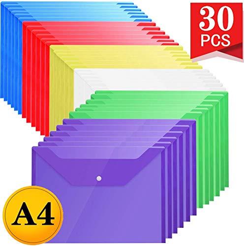 LATERN Carpetas Plastico 6 Colores - A4 Carpeta Plastico Archivadora Documentos Con Botón (30 piezas)