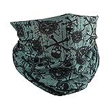 Motique Accessories Skull Designs Seamless Tube Bandana Neck Gaiter - Green Skulls & Swords