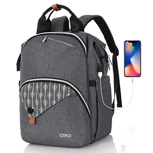 Rucksack Damen, Schulrucksack Mädchen Teenager mit USB Ladeanschluss, für Uni Reisen Freizeit Job | mit Laptopfach & Anti Diebstahl Tasche 15.6 Zoll
