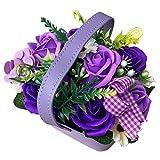 アレンジソープ バラ 枯れない花 シャボンフラワー ソープフラワー フレグランスフラワー 石けん素材 誕生日 卒業祝い 入学祝い 退職祝い 母の日 父 の日 サマーギフト お中元 お歳暮 お祝い 贈り物 (バラ:紫色)