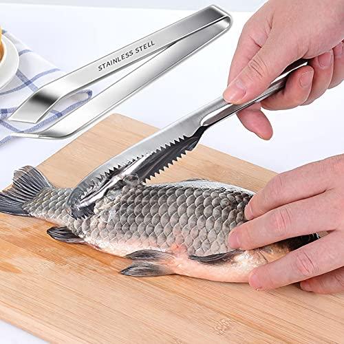 Escamador de de Pescado Raspador De Escamas De Pescado Escalador de Pescado de 304 Inoxidable Incluye Pinzas de Acero Inoxidable Utensilios de Cocina para Utensilios de Chef Mariscos