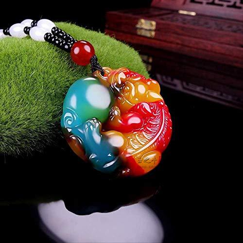 Minekkyes Natural Pollo Sangre Mano Tallada Valientes Tropas Jade Colgante Moda Boutique Joyería Color Valientes Tropas Collar