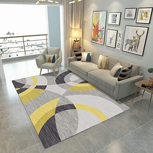 GBFR Alfombras grandes para sala de estar, abstracción geométrica, alfombra de mostaza, tradicional, sala de estar, dormitorio, estudio, exterior, comedor, baño, costura redonda, 120 x 160 cm
