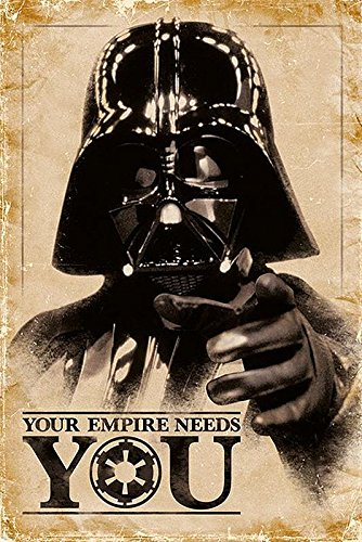 """Póster Star Wars """"Darth Vader - Your Empire Needs You/ Tu Imperio te necesita"""" (61cm x 91,5cm) + embalaje para regalo"""