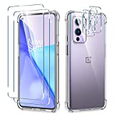[5 in 1] WRJ Clear Case + Screen Protector [2 Packs] with Camera Lens Screen Protector [2 Packs] for OnePlus 9,Anti-Scratch Tempered Glass and HD Clear TPU Case