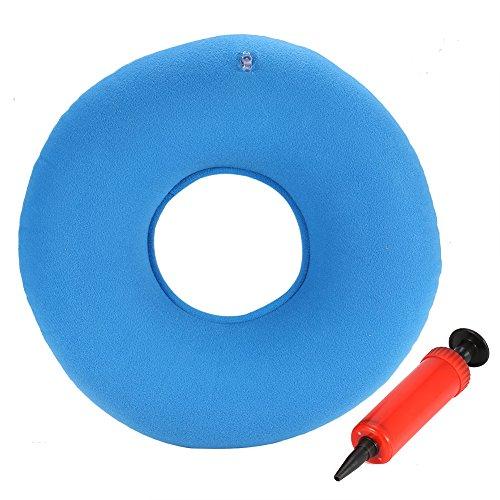 almohada en rosquilla 34cm Cojín Inflable Redondo con Bomba oporte Lumbar para Hemorroides, Embarazo, Dolor en la Rabadilla, Próstata y Llagas - Uso en el Hogar, Coche u Oficina(Azul)