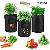 FIVEI 7 Gallon Potato Grow Bags Portable Potato Growing Bag Planter Bags Planting Pouch with Handles Access Flap for Carrot Onion Vegetables