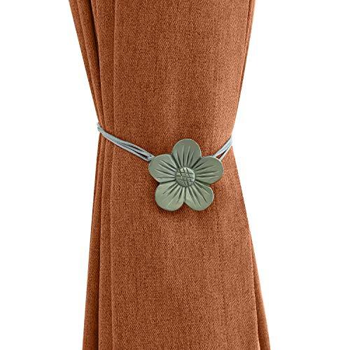 Lewondr Vintage Magnetischer Vorhang Raffhalter, 1 Paar Harz Blume Vorhangschnalle mit starkem dauerhaftem Magneten für Dekoration Zuhause Cafe Büro - Grau
