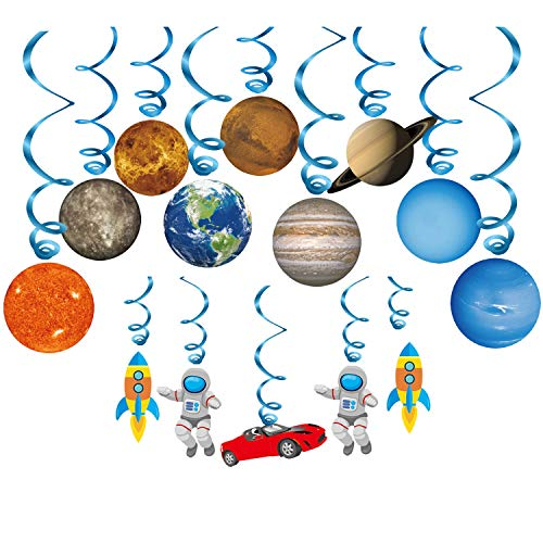 Konsait Solar System Hanging Swirls Decorations(14Pack), Spiral Streamers for Solar System Outer Space Themed Party Supplies for Kids Birthday Party Decorations