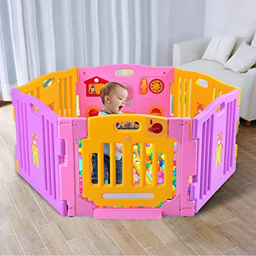 Costzon Baby Playpen Kids Safety Activity Center Play Zone (Pink, 6 Panel)