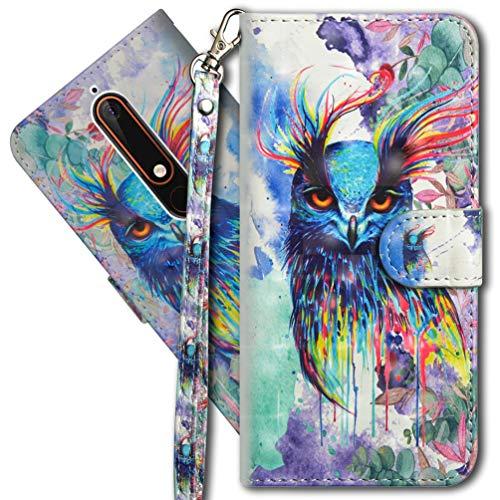 MRSTER Nokia 6.1 Handytasche, Leder Schutzhülle Brieftasche Hülle Flip Hülle 3D Muster Cover mit Kartenfach Magnet Tasche Handyhüllen für Nokia 6.1 2018. YX 3D - Colorful Owl