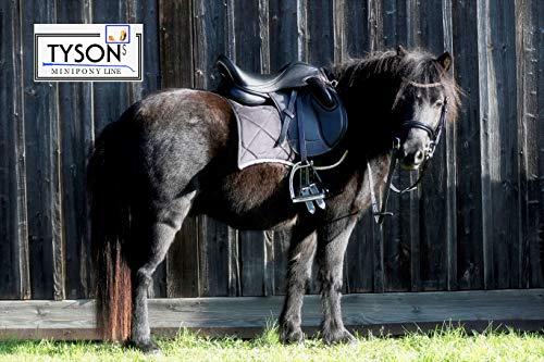 Ledersattel Monosattel 14 15 Zoll Shetty Pony Sattel Leder + 5 Kopfeisen verstellbar Shettysattel Tysons Roségold weiches Leder (14 Zoll)