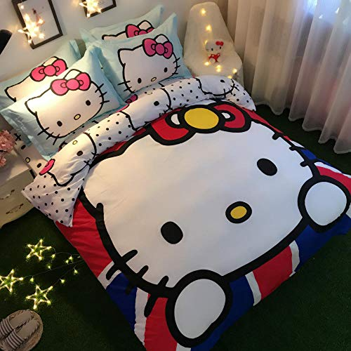 Snoevpar Bedding Duvet Cover Cartoon Animal Cat 230 * 220Cm Printed Quilt Cover With Zipper Closure,3 Pieces(1 Duvet Cover + 2 Pillowcases), Soft Polyester Fiber Gothic Bedding