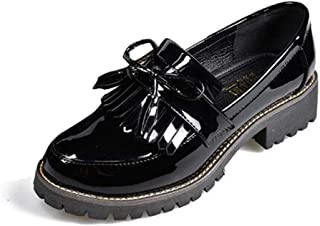 da2dcef2525 Zapatos de Charol con Borla de Las Mujeres Punta Redonda Primavera Otoño  Slip-on Flats